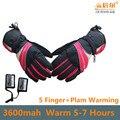 5 Dedos y el Dorso de la Mano Calefacción 3.7 V 3600 MAH USB Guantes de Calefacción Eléctrica, Al Aire Libre de Esquí Deporte de Litio batería de Calefacción Auto