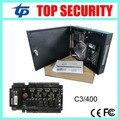 TCP/IP 4 puertas del panel de control de acceso sistema de control de acceso de la puerta tarjeta de control de acceso C3-400 con fuente de alimentación y caja a prueba de agua