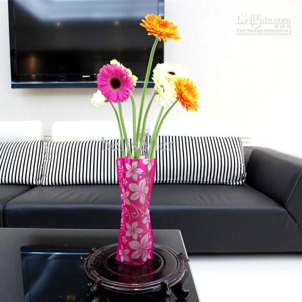 224 & US $40.0 |Unique Reusable Flower Vases Unbreakable Folding Foldable Plastic PVC Flower Vase Home Decoration Mixed styles order 27cm*12cm-in Vases from ...