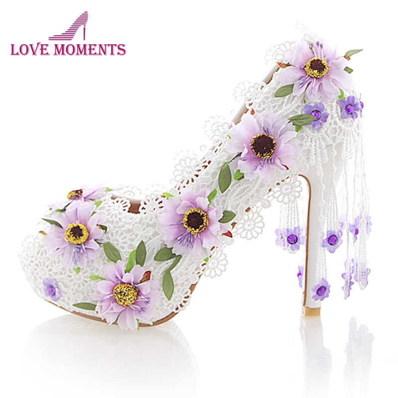 White Lace Flower High Heel Wedding Shoes Fashion Beautiful Women Party Prom Shoes Peep Toe Summer Nightclub Pumps with TasselWhite Lace Flower High Heel Wedding Shoes Fashion Beautiful Women Party Prom Shoes Peep Toe Summer Nightclub Pumps with Tassel