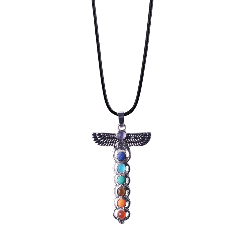 7 Chakra Yoga Necklace Pendant Leather Rope Cross Sacred Guardian Man For Woman Gift Popular Natural Stone Necklace2018