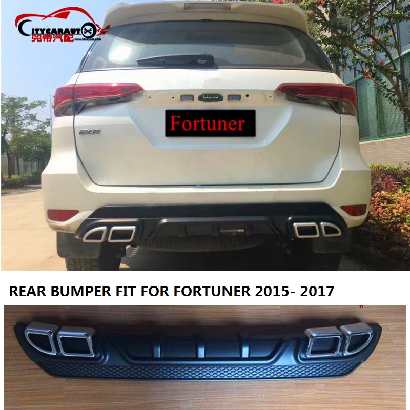 CITYCARAUTO TRD REAR BUMPERS  REAR PROTIVTES COVER  Rear Bumper Protector Dual Diffuser Spoiler FIT FOR TOYOTA FORTUNER 2015 -17 yandex w205 amg style carbon fiber rear spoiler for benz w205 c200 c250 c300 c350 4door 2015 2016 2017