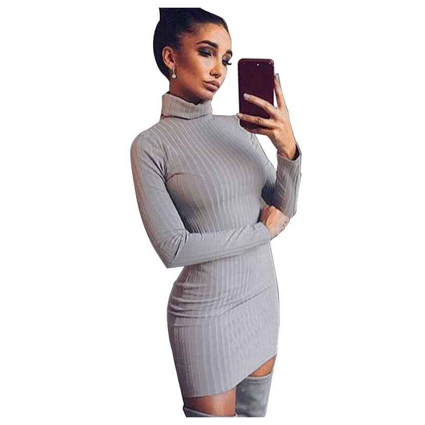 Women Bodycon Autumn Spring Dresses Fashion Women Office Work Long Sleeve Sexy Knitted Package Hip Mini Dress