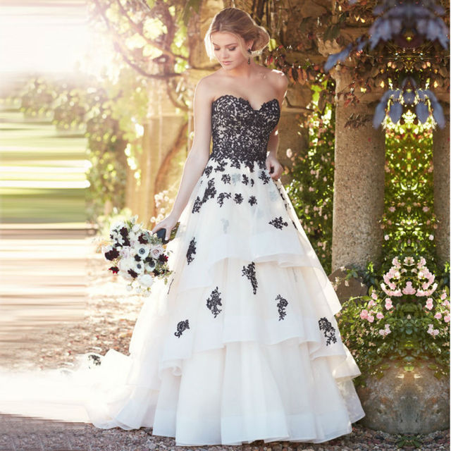 Black Lace Wedding Gown New Organza Sweetheart Dresses 2017 Court Train Bridal Dress Lique Marriage