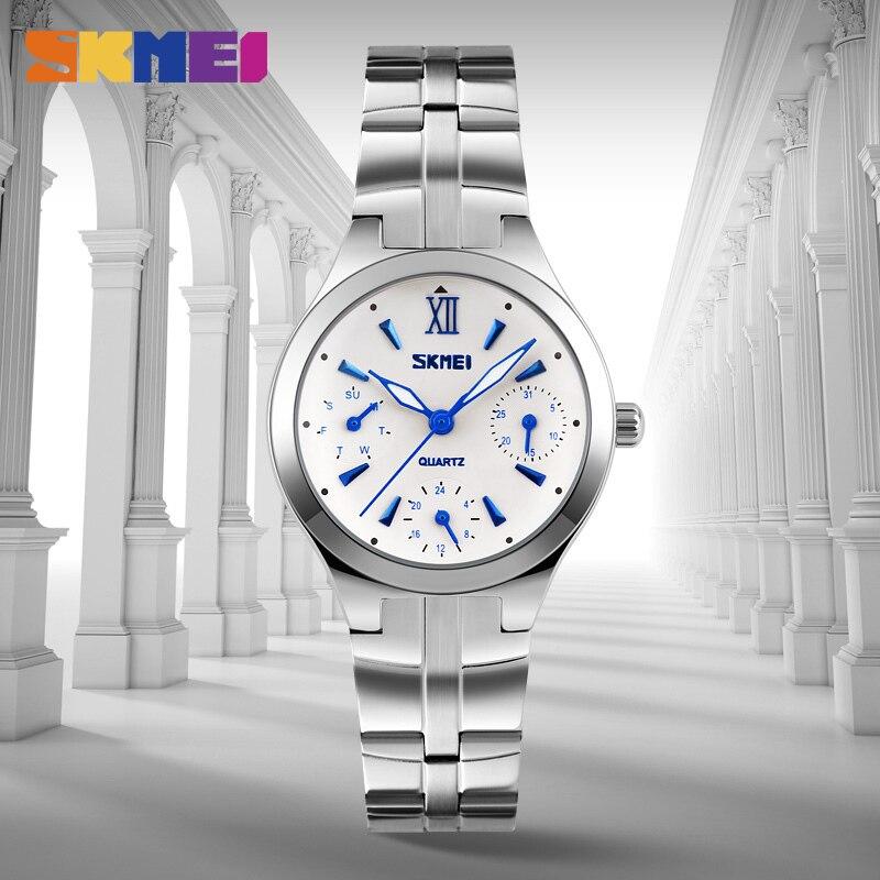 SKMEI Для женщин кварцевые часы Мода Повседневное 6 игл Многофункциональный Нержавеющаясталь на водонепроницаемость Relogio Feminino 9132