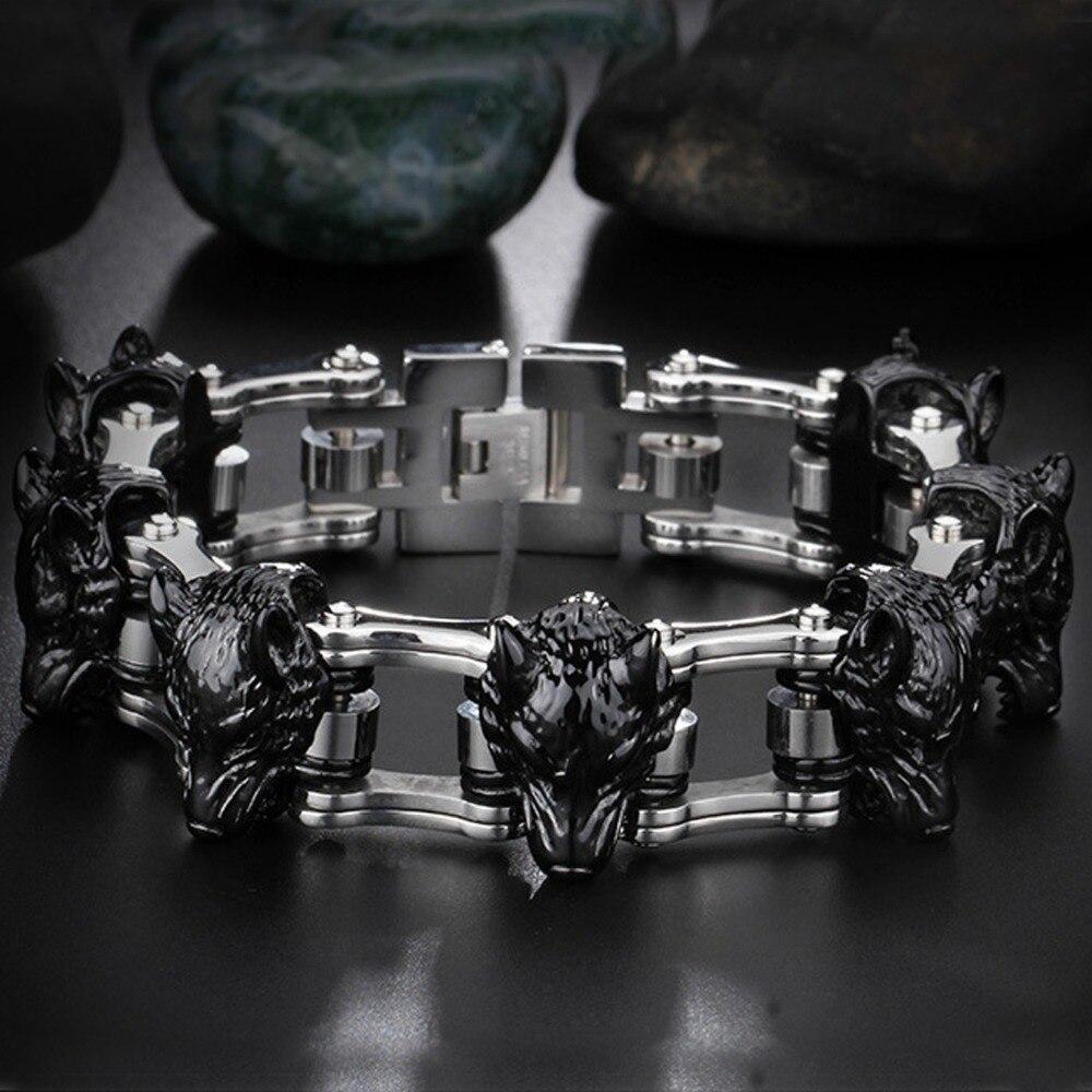 21mm haute qualité en acier inoxydable argent moto motard chaîne noir loup Punk bijoux hommes garçons Bracelet Bracelet cadeau de noël