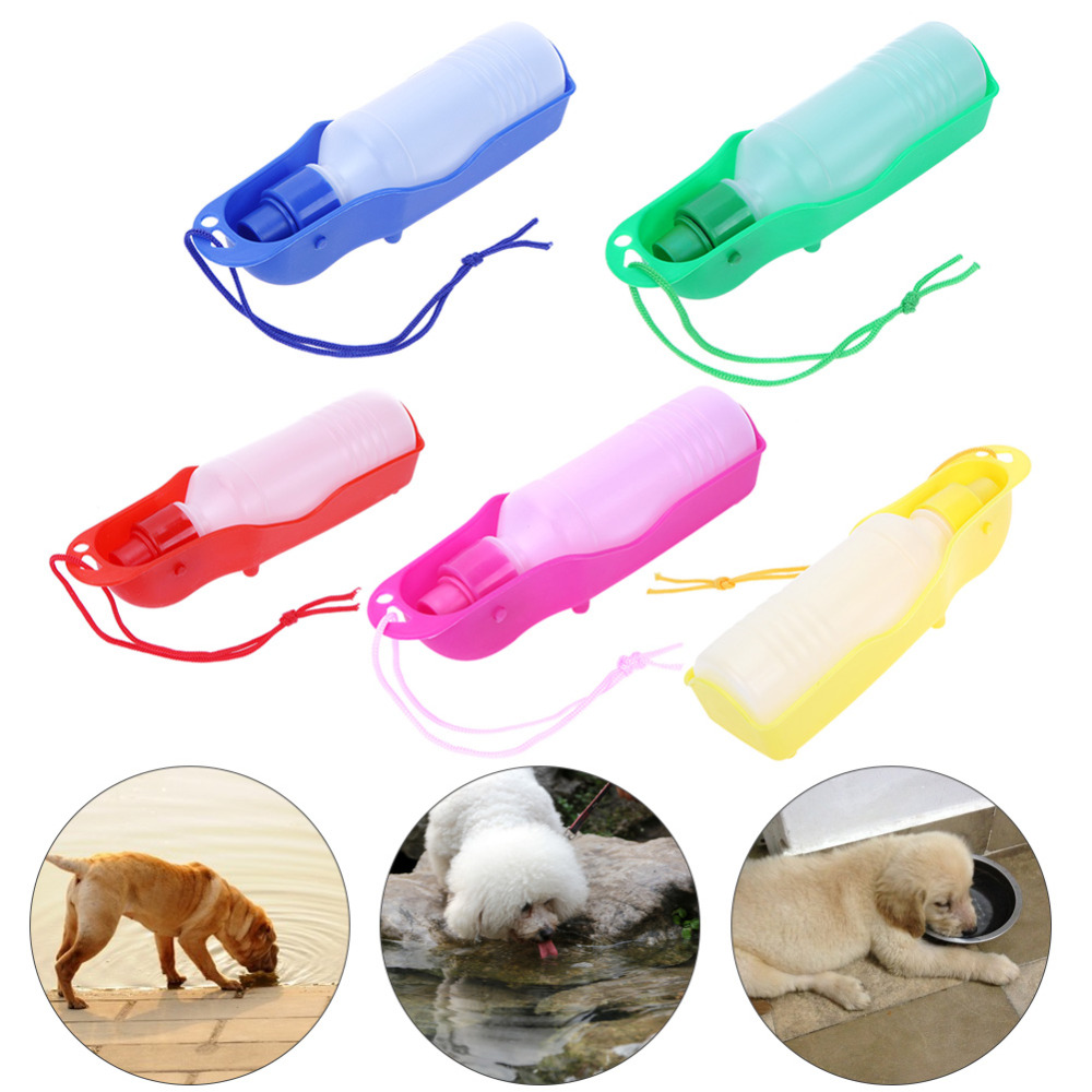 Foldable Plastic Dog Cat Drinking Water Feeder Outdoor: 500ML Pet Cat Dog Bowl Plastic Foldable Water Fountain