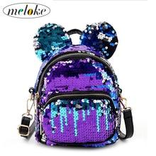 Купить с кэшбэком Meloke 2018 hot sales women mini sequins backpacks lovely ears bling multifunctional women bags casual travel bags M47