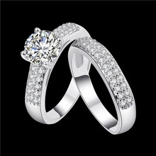 Fashion classic style queen Ring Silver Color & Gold Color AAA cubic zirconia engagement double ring New Design anel