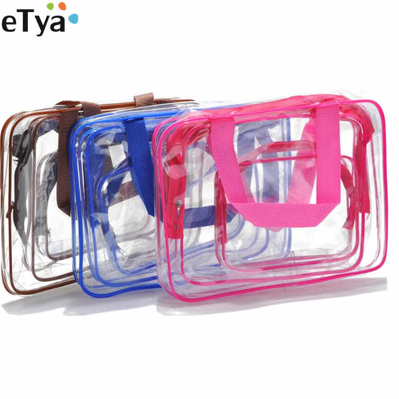 eTya 1PCS Travel Transparent PVC Makeup Bag Case Clear Women Men Toiletry Cosmetic Bag Organizer Zipper Wash Pouch Bags