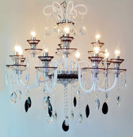 Hotel Foyer Hanging Black White Crystal Chandelier Lamparas Colgantes 8 12 Heads E14 Led Black Chandeliers