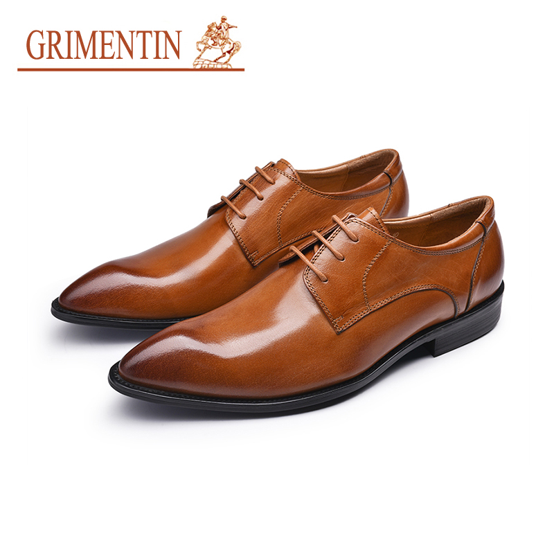 GRIMENTIN Brand mens wedding shoes 2018 new high quality genuine leather male dress shoes black orange Italian men formal shoes top brand tassel men shoes dress black italian fashion wedding male shoes 2018 new genuine leather business man formal footwear