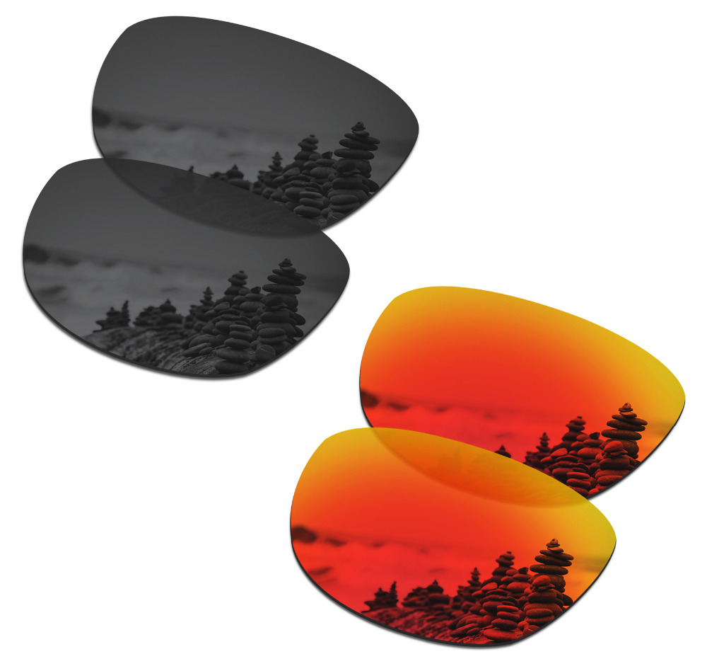 SmartVLT 2 Pairs Polarized Sunglasses Replacement Lenses For Oakley Trillbe X Stealth Black And Fire Red