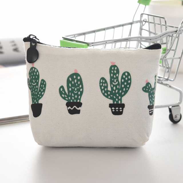 Travel Cactus Canvas Zipper Bag