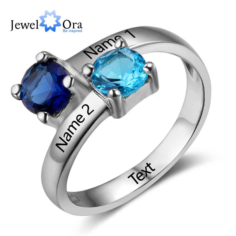 Jewelora Birthstone Ring Engagement-Rings 925-Sterling-Silver New Name RI102735 Engrave