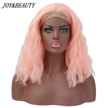 JOY&BEAUTY 16 Inch Temperature Fiber Perruque Frontal Wigs Pixie Curly Short Bob Pink Synthetic Lace Front Wig