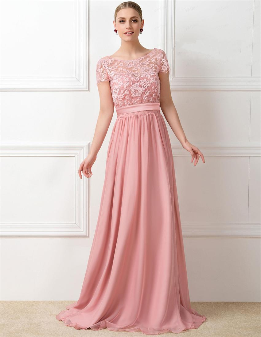 Custom Made Lovely Peach Color Long Bridesmaid Dresses ...