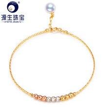 YS Akoya pulsera de perlas de oro sólido de 18K, joyería fina