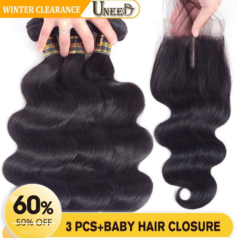Uneed Hair Brazilian Body Wave 3 Bundles With Lace Closure  4*4 100% Human Hair Weave Bundles With Closure Remy Hair Extensions