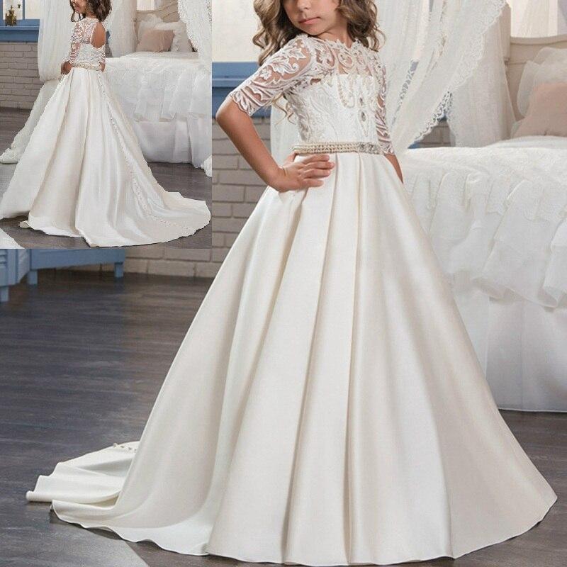 2019 New Baby Kid Girls dress Half Sleeves Pearl Rhinestone Waist Belt Dress Wedding Bridesmaid Trailing