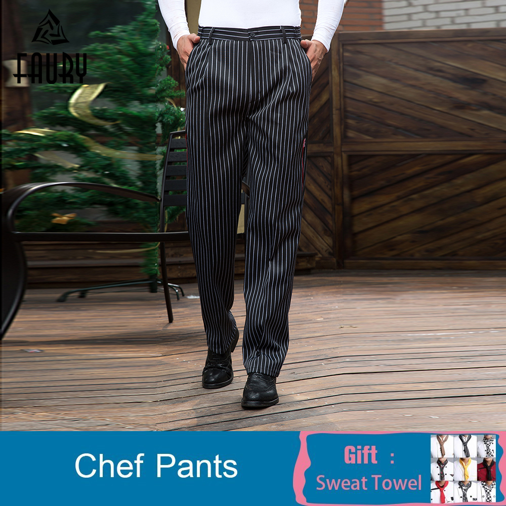 M-3XL New Arrival Wholesale Restaurant Kitchen Food Service Bakery Coffee Shop Work Wear Pants Men Waiter Cookers Pants Trousers