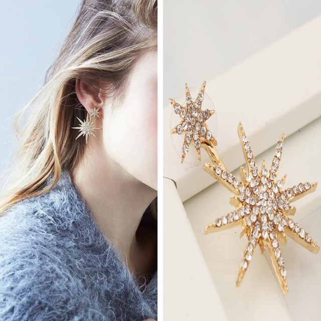 Luxury 2 Pc Women French Style Fashion Star Shining Jewelry Earring Trendy Metal For Female Crystal