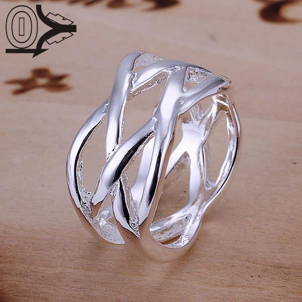 Christmas Gift Wholesale Silver-plated Ring,Silver Fashion Jewelry,Fashion Fish Net Cross Jewelry Women Finger Rings