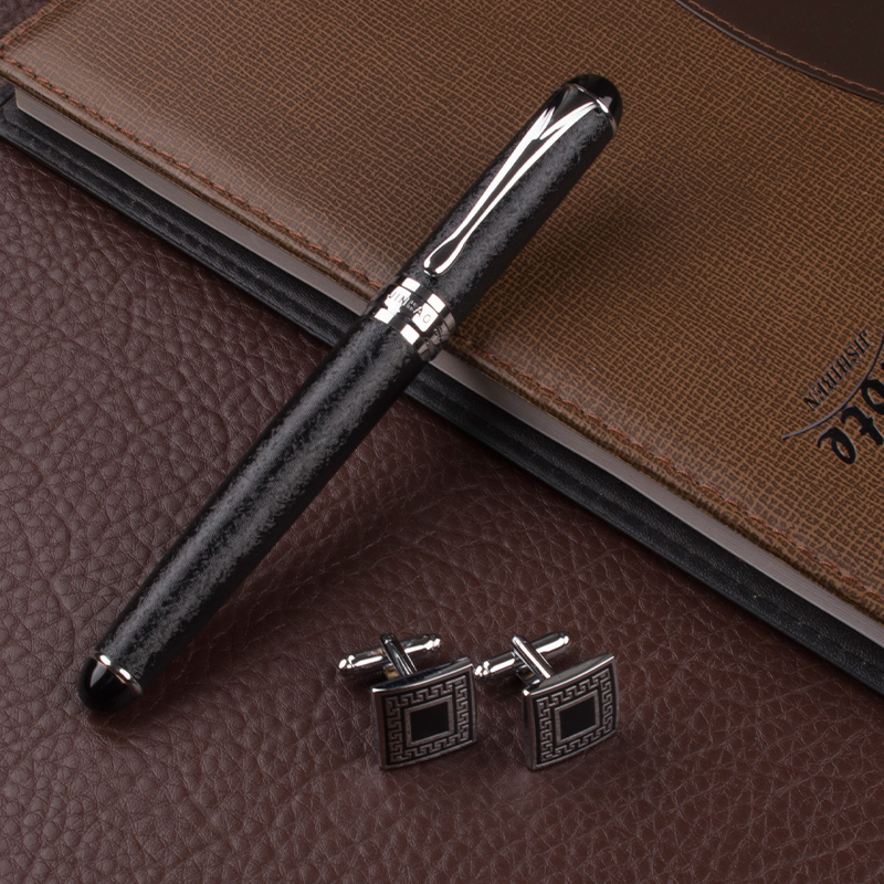 High quality Roller Ball Pens metal Silver clip luxury pens Caneta Stationery Office supplies Business Cufflinks dikawen 891 gray gold dragon clip 0 7mm nib office stationery metal roller ball pen pencil box cufflinks for mens luxury