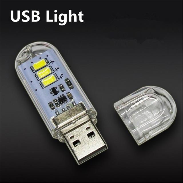 1Pcs New Mini USB LED lamp Book lights 3 LEDs 5730 SMD 1.5w Camping Bulb Nightlight For PC Laptops Notebook Reading Night light
