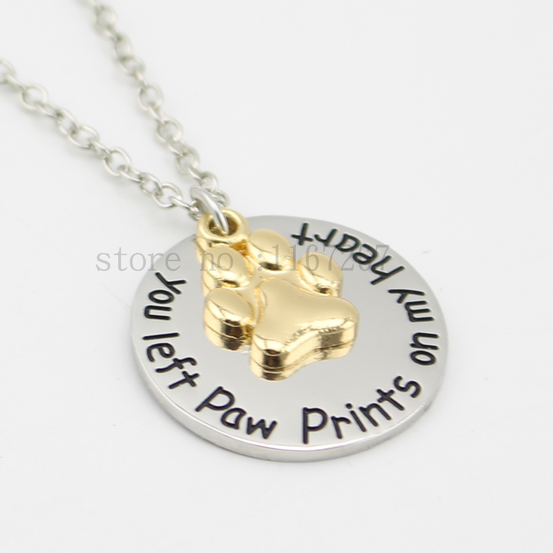 2015 pet loss jewelryyou left paw prints on my heart necklace pet 2015 pet loss jewelryyou left paw prints on my heart necklace pet memorial gold paw print necklace in pendant necklaces from jewelry accessories on aloadofball Images