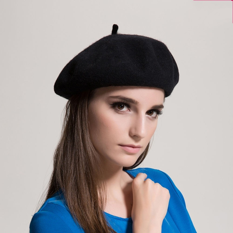 ... LASPERAL Fashion French Style Vintage Women Girls Wool Winter Warm Plain  Beret Beanie Black Hat Cap bef14d7a811f