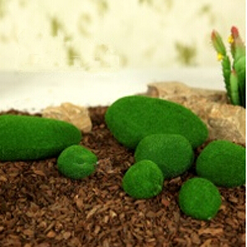 8pcspack green artificial moss stones grass bryophytes home garden bonsai decoration for garden path