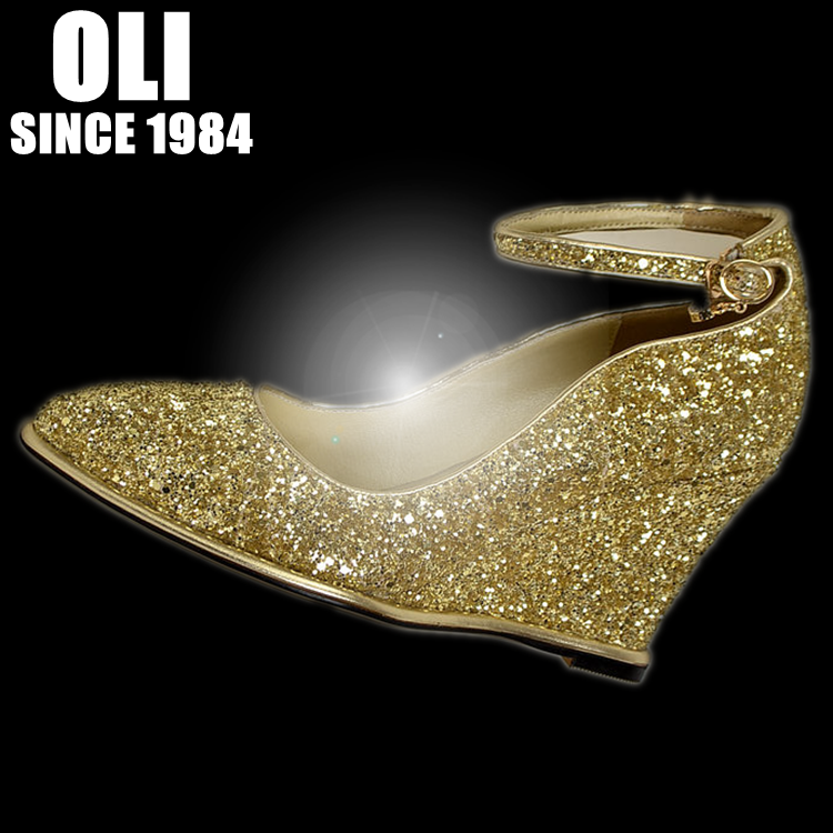 3a0a8abffe7 Gold paillette wedding shoes wedges pointed toe single shoes bride women s  shoes genuine leather high-heeled shoes belt spring
