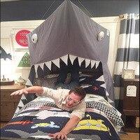Hot Grote Cartoon Shark Mantel Vorm Bed Mantel Tent Opknoping Deur Opknoping Muskietennetten Kids Bed Decoraties Nordic Stijl