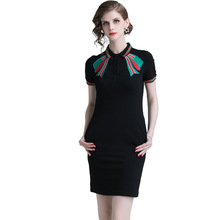 PADEGAO Plus Size Dress High Quality Casual Womens Lapel Bow Embroidered Sheath Clothing Ladies Short-Sleeved Summer Dresses
