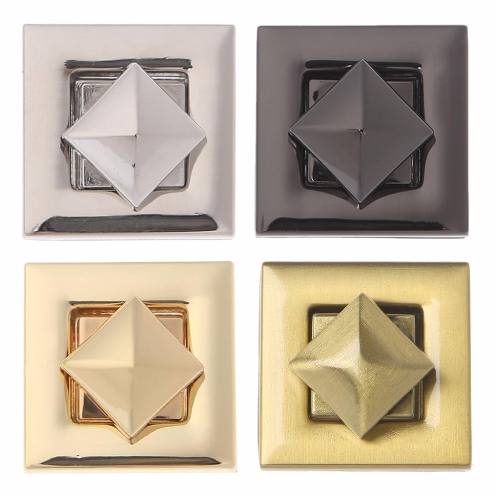 THINKTHENDO 1PC 4 Color Square Shape Clasp Turn Lock Twist Locks For  DIY Messenger Handbag Bag Hardware Fashion New
