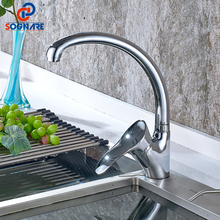 SOGNARE Chrome Kitchen Sink Faucet Single Handle Mixer Tap Faucet Deck Mounted Kitchen Sink Taps Rotatable Brass Kitchen Faucets