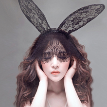 Bunny Rabbit Ear Hairband Women Sex Hollow Out Lace Party Nightclub Eye Mask Female Erotic Lingerie Sexy Toys For Adults Games недорого