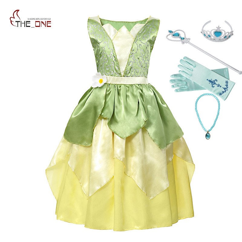 MUABABY Girl Tiana Princess Costume Children Sleeveless The Princess and The Frog Dress Up Halloween Kids Party Dancing Fantasy музыкальный мобиль fisher price друзья из тропического леса chr11
