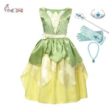 MUABABY Girl Tiana Princess Costume Children Sleeveless The Princess and The Frog Dress Up Halloween Kids Party Dancing Fantasy(China)