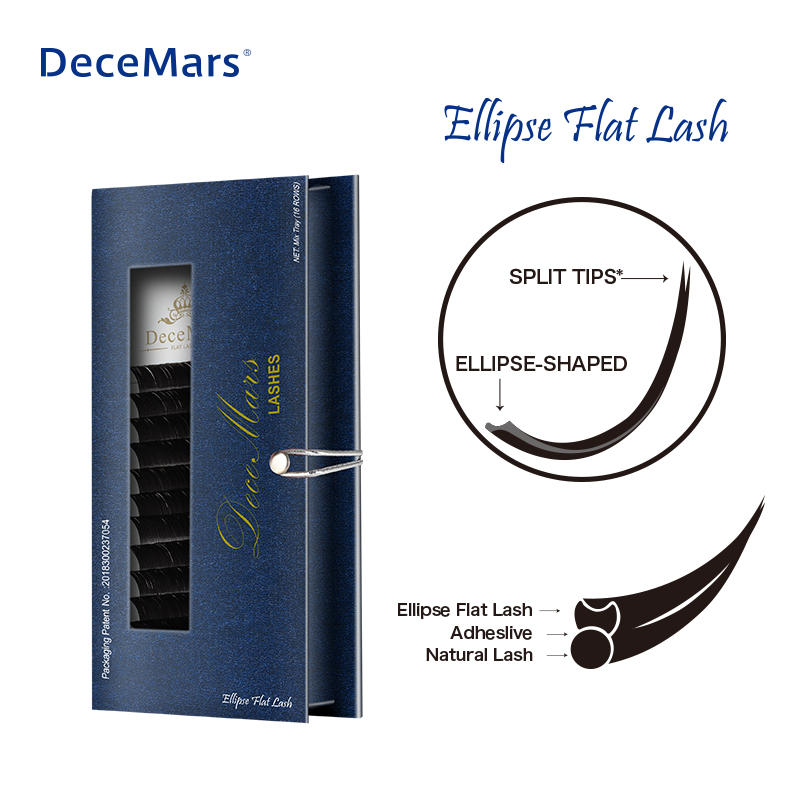 DeceMars Matte Ellipse Flat Eyelash Extension Ellipse Soft Tips Light Weight Ellipse Lash Individual Mink Eyelash Extension