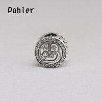 925 Sterling Silber Liebe Erste Kuss Klaren CZ Charms Europäischen Perlen Fit Pohier Charms Armbänder & Halskette SP00293