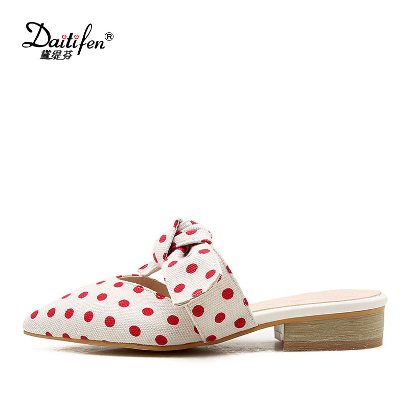 Daitifen comfortable Cloth women Flat Slippers sweet Bow-knot Polka Dot Slides Sandal Big size ladies Party/Casual Mule Slippers
