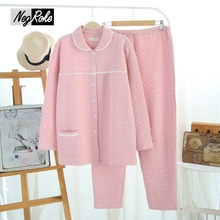 Hot sale Winter 100% cotton thickening solid color pink cute warm women pajamas sets simple long-sleeved women homewear