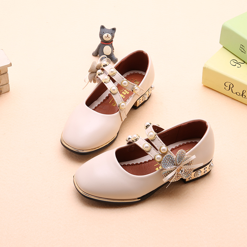 Girls Shoes Autumn/Spring Children Princess Shoes Kids Baby Leather Shoes With Flower Heeled Fashion Party Shoes