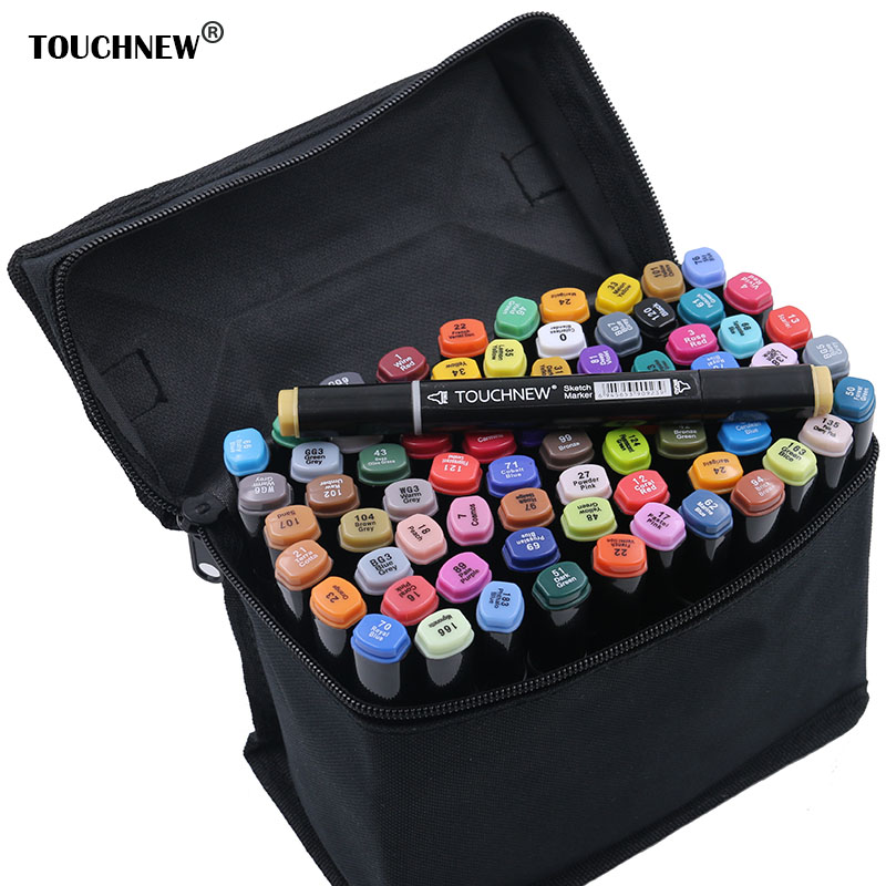 TOUCHNEW Art Marker Set Alcohol Based brush pen canetas liner Sketch Markers Drawing manga art supplies brush pen touchnew 168 colors artist painting art marker alcohol based sketch marker for drawing manga design art set supplies designer