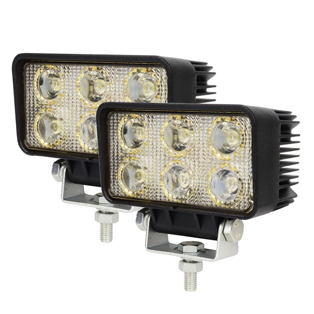 2pcs 12 Volt 18w Led Working Light Bulbs Worklight Driving 12v 24v Bulb Spot Flood Beam