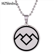 2018 New Twin Peaks Pendant Stainless Steel Necklace TV Logo Pendants Jewelry Trendy Men Women Accessory Silver HZ7(China)