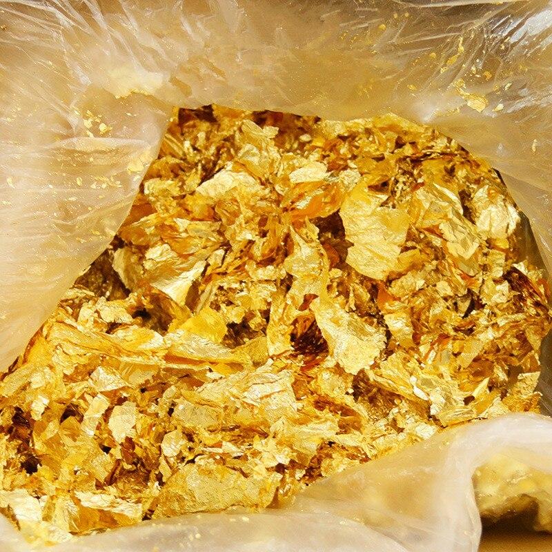 50G Imitation Gold/Sliver Foil Art Craft Paper Leaf Leaves Sheets Bulk Foil Paper Leaves For Gilding DIY Nail Flake Art Decor