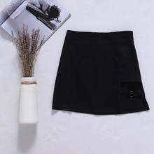 567f0168b2a New Korean Style Black Package Hip Skirts Gap Irregular Hem Pencil Micro  Mini Skirt